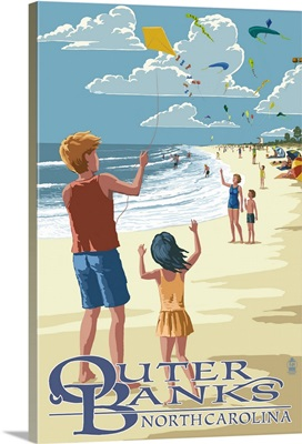 Outer Banks, North Carolina - Kite Flyers: Retro Travel Poster
