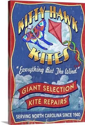 Outer Banks, North Carolina - Kitty Hawk Kite Shop Vintage Sign: Retro Travel Poster