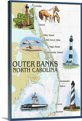 Outer Banks, North Carolina - Nautical Chart: Retro Travel Poster