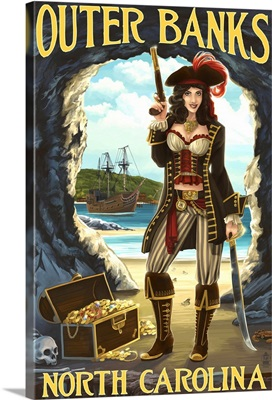 Outer Banks, North Carolina - Pirate Pinup Girl: Retro Travel Poster