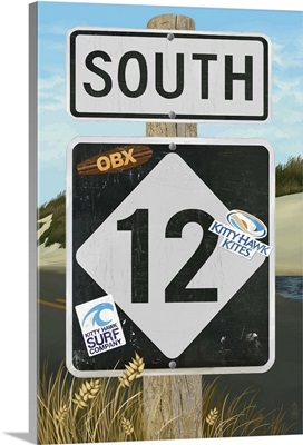 Outer Banks, North Carolina - Route 12 Sign: Retro Travel Poster
