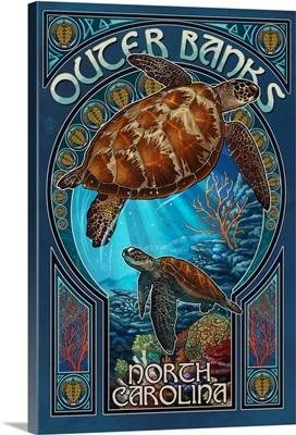 Outer Banks - North Carolina - Sea Turtle Art Nouveau: Retro Travel Poster