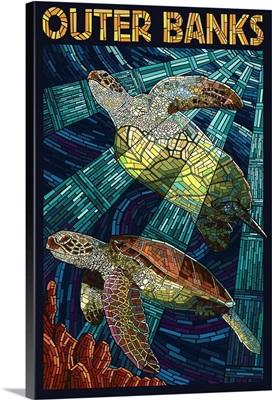 Outer Banks, North Carolina - Sea Turtle Mosaic: Retro Travel Poster