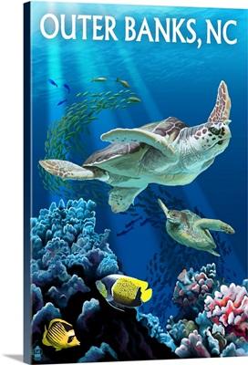 Outer Banks, North Carolina - Sea Turtles: Retro Travel Poster