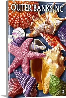 Outer Banks, North Carolina - Shells: Retro Travel Poster