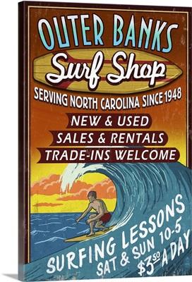 Outer Banks, North Carolina - Surf Shop Vintage Sign: Retro Travel Poster