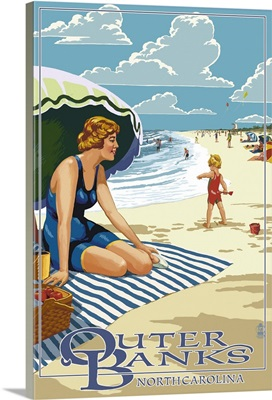 Outer Banks, North Carolina - Woman on Beach: Retro Travel Poster