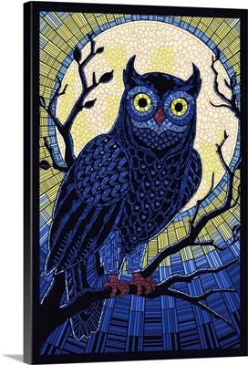 Owl - Paper Mosaic: Retro Art Poster
