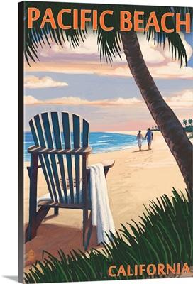Pacific Beach, California, Adirondack Chair on the Beach