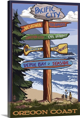 Pacific City, Oregon Destinations Sign: Retro Travel Poster