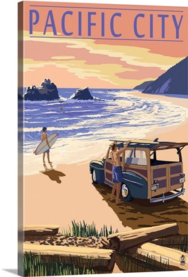 Pacific City, Oregon - Woody on Beach: Retro Travel Poster