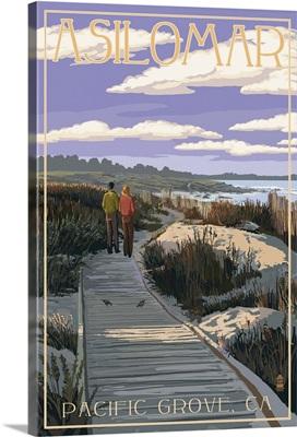 Pacific Grove, California - Asilomar Boardwalk: Retro Travel Poster