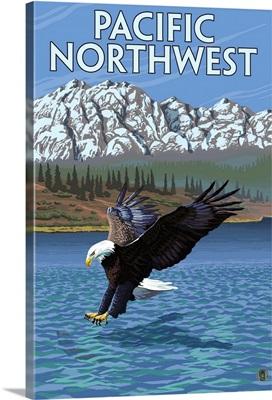 Pacific Northwest - Fishing Eagle: Retro Travel Poster
