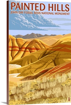 Painted Hills - John Day Fossil Beds, Oregon: Retro Travel Poster