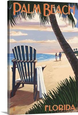 Palm Beach, Florida - Adirondack Chair on the Beach: Retro Travel Poster