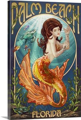 Palm Beach, Florida - Mermaid Scene: Retro Travel Poster