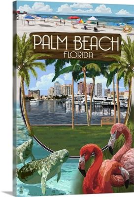 Palm Beach, Florida - Montage Scenes: Retro Travel Poster