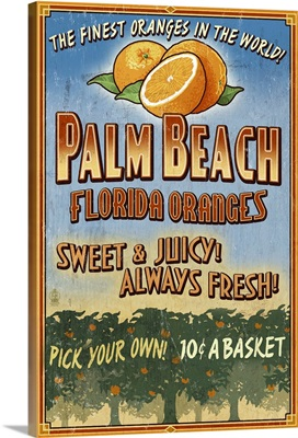 Palm Beach, Florida - Orange Grove Vintage Sign: Retro Travel Poster