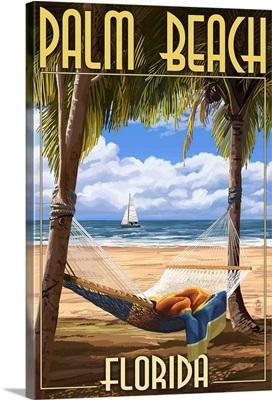 Palm Beach, Florida - Palms and Hammock: Retro Travel Poster