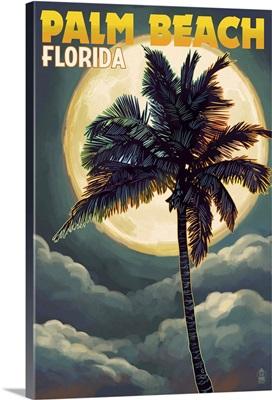 Palm Beach, Florida - Palms and Moon: Retro Travel Poster