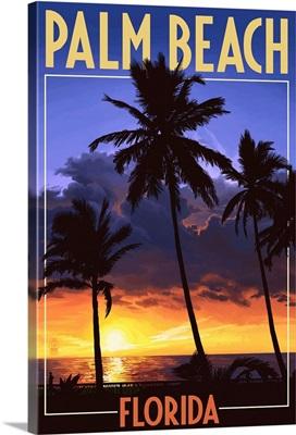 Palm Beach, Florida - Palms and Sunset: Retro Travel Poster