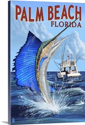 Palm Beach, Florida - Sailfish Scene: Retro Travel Poster