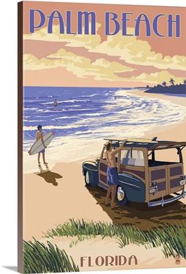 Palm Beach, Florida - Woody On The Beach: Retro Travel Poster
