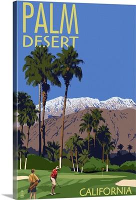 Palm Desert, California - Golfing Scene: Retro Travel Poster