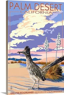 Palm Desert, California - Roadrunner Scene: Retro Travel Poster