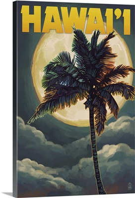 Palms and Full Moon - Hawaii: Retro Travel Poster