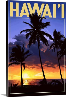 Palms and Sunset - Hawaii: Retro Travel Poster