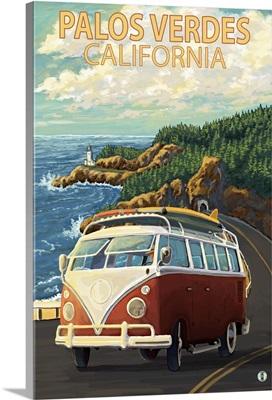 Palos Verdes, California - VW Van: Retro Travel Poster