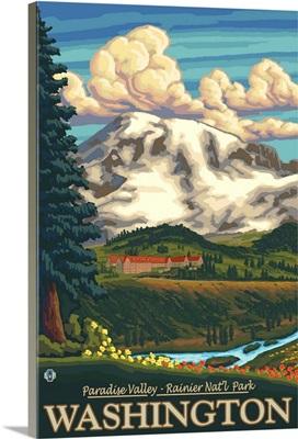 Paradise Inn - Mt. Rainier, WA: Retro Travel Poster
