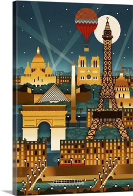Paris, France, Retro Skyline
