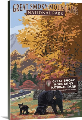 Park Entrance and Bears - Great Smoky Mountains National Park, TN: Retro Travel Poster
