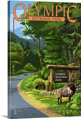 Park Entrance and Elk - Olympic National Park, Washington: Retro Travel Poster