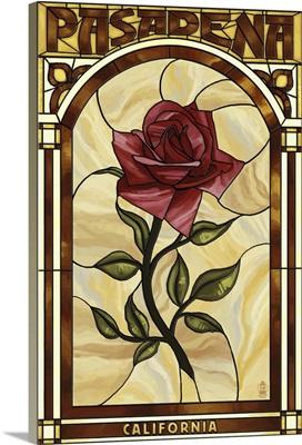 Pasadena, California - Rose Stained Glass: Retro Travel Poster