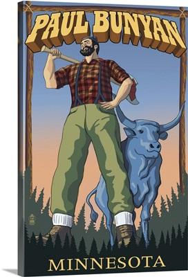 Paul Bunyan - Minnesota: Retro Travel Poster