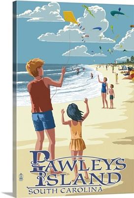 Pawleys Island, South Carolina - Kite Flyers: Retro Travel Poster