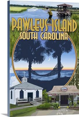 Pawleys Island, South Carolina - Montage: Retro Travel Poster
