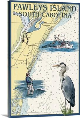 Pawleys Island, South Carolina - Nautical Chart: Retro Travel Poster
