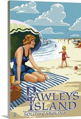 Pawleys Island, South Carolina - Woman on Beach: Retro Travel Poster