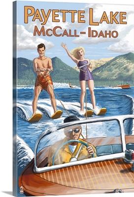 Payette Lake, McCall, Idaho - Water Skiing Scene: Retro Travel Poster