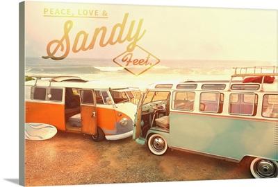 Peace, Love, and Sandy Feet, VW Vans on Beach