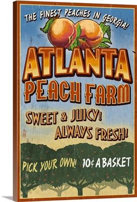 Peaches Vintage Sign - Atlanta, Georgia: Retro Travel Poster