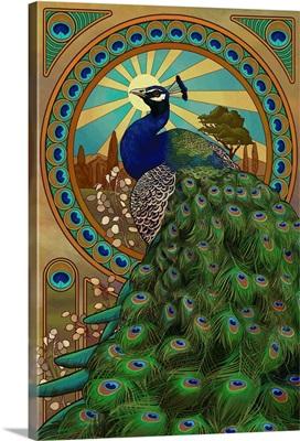 Peacock - Art Nouveau: Retro Art Poster