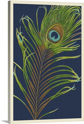 Peacock Feather - Letterpress: Retro Art Poster