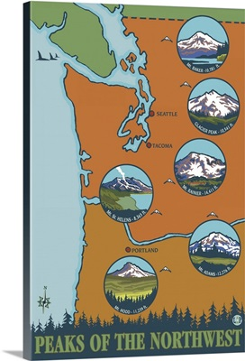Peaks of the Northwest - 6 Different Mountains: Retro Travel Poster