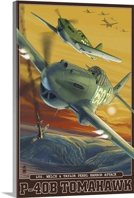 Pearl Harbor, Hawaii - P-40B Tomahawks: Retro Travel Poster