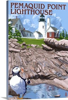 Pemaquid Lighthouse - Maine: Retro Travel Poster